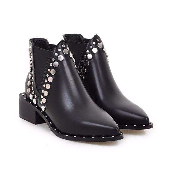 Rivets Thick Heels Boots - Gothic Fix