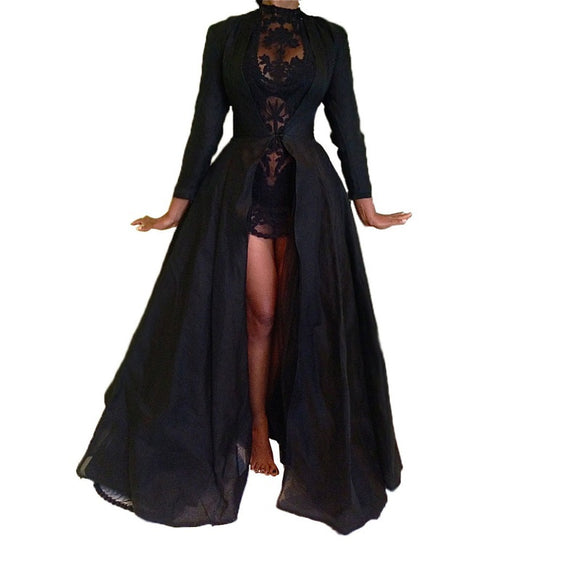 Sheer Lace Long Dress - Gothic Fix