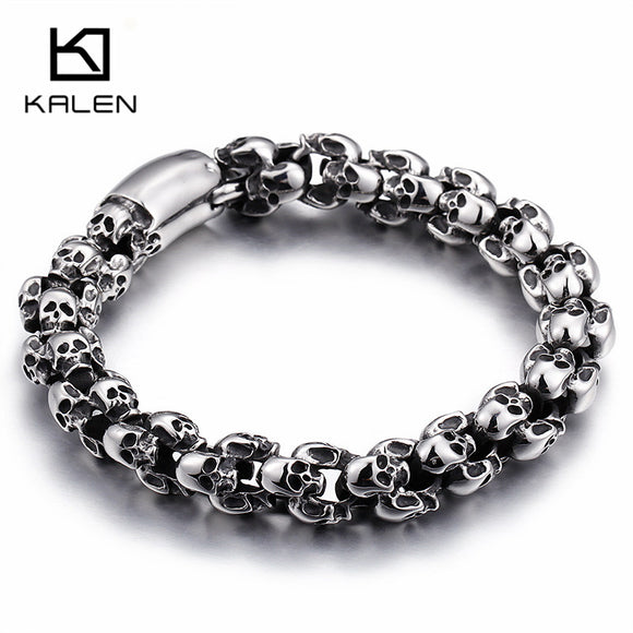 Skull Stud Stainless Steel Bracelet by Kalen - Gothic Fix