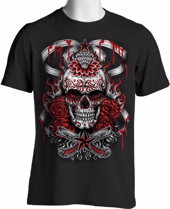 Bloody Roses Tattoo Shirt - Gothic Fix