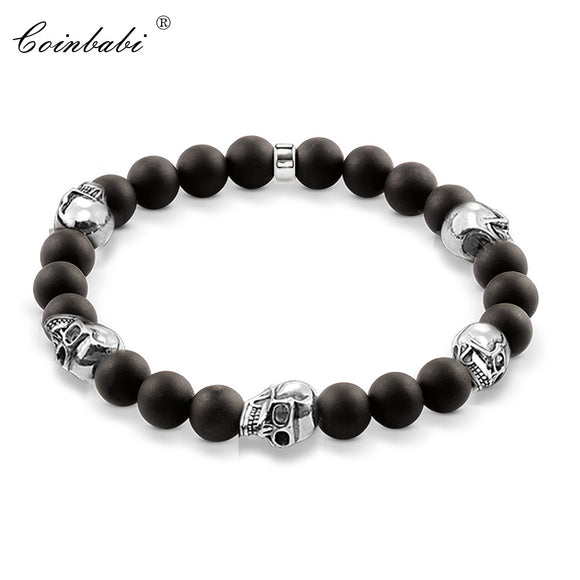 Thomas Black Five Skull Bead Sterling Silver Bracelet - Gothic Fix