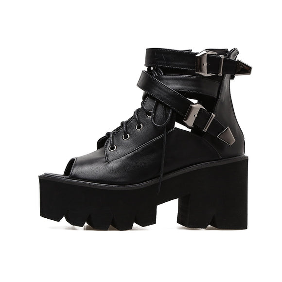 Open Toe Ankle Gladiator Sandals Boots - Gothic Fix
