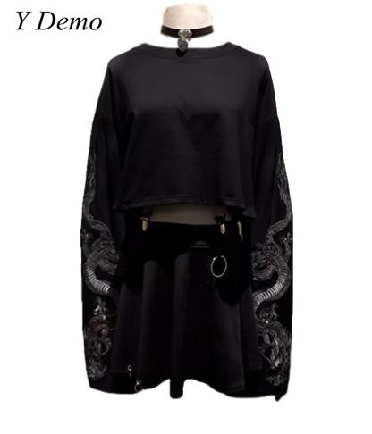 Gothic Dragon Embroidery Top - Gothic Fix