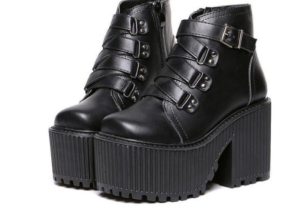 Gothic Chunky Block High Heel Platform Wedge - Gothic Fix