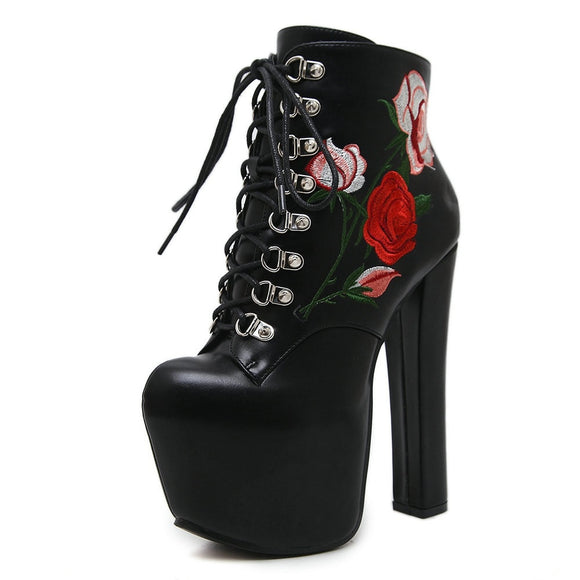 Platform Floral Fashion Boots - Gothic Fix