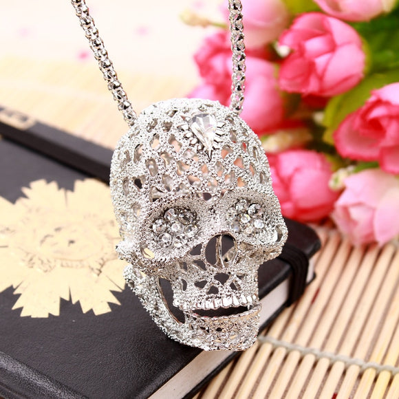 Hollow Crystal Skull Pendant Necklace - Gothic Fix