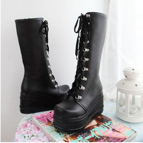 Rock High Wedge Boots - Gothic Fix