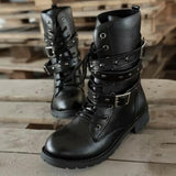 Gothic Style Lace Up Belts Round Toe Boots - Gothic Fix