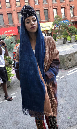 Mayan Poncho with Hoodie Shawl Collar