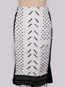 White and Black Mudcloth Pencil Skirt