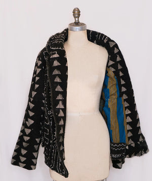 Fringed Mudcloth Flyer Jacket