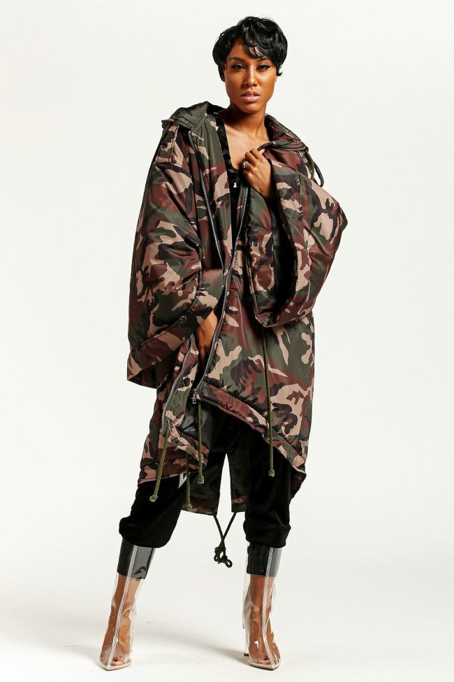 Oversized Camo Hooded Coat