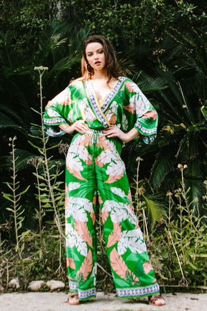 Palm Dreams Leaf Print Palazzo Pants