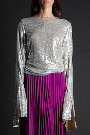 All That Glitters Bell Sleeve Sequin Top