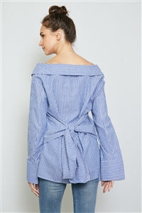 Off The Shoulder Tie Back Stripe Shirt
