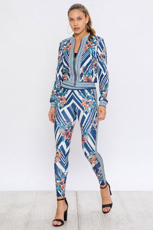 Mixology Floral Geometric Print Tracksuit