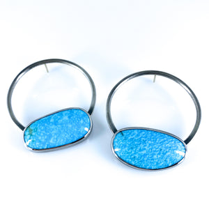 turquoise sphere earrings deux