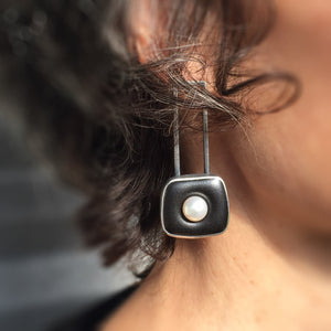 ceramic square halo earrings