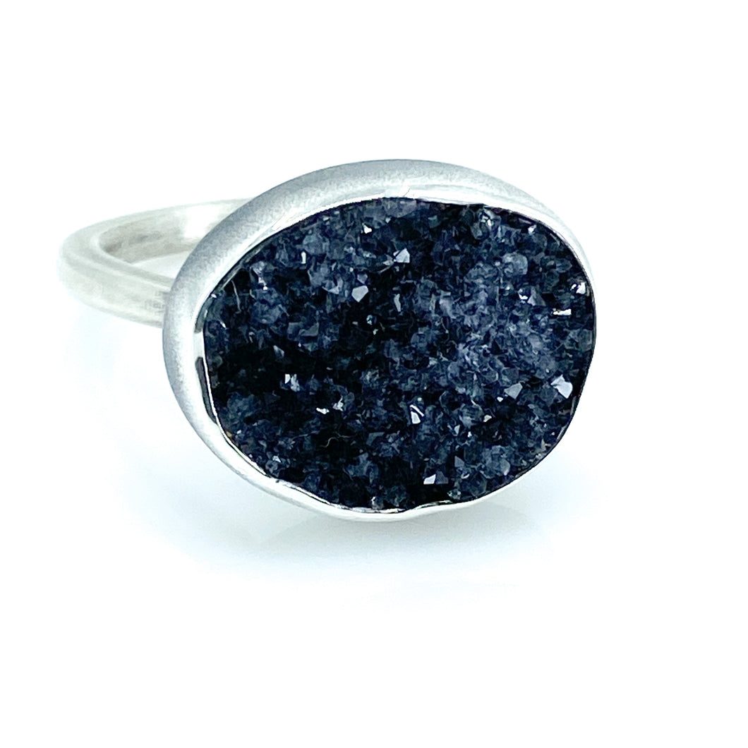 druzy quartz tulip ring