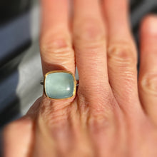 Load image into Gallery viewer, aquamarine tulip ring