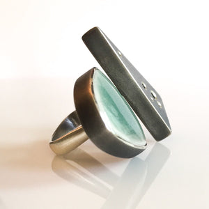 ceramic double triangle ring