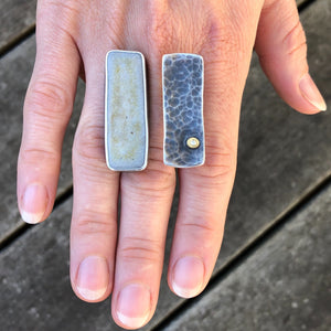 ceramic double rectangle ring