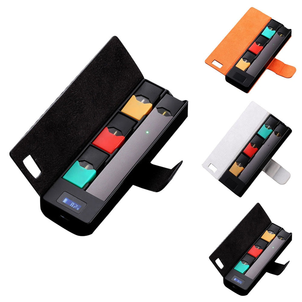 Portable 1200mah charger charging case pods holder lcd charging indicator for juul universal charger sticker kings