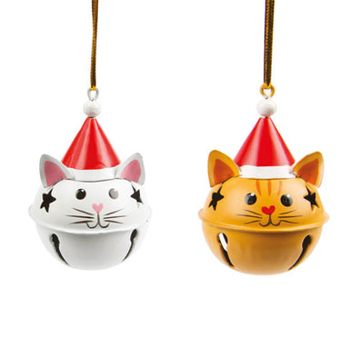 Cat in Christmas Hat Bell Decoration Duo
