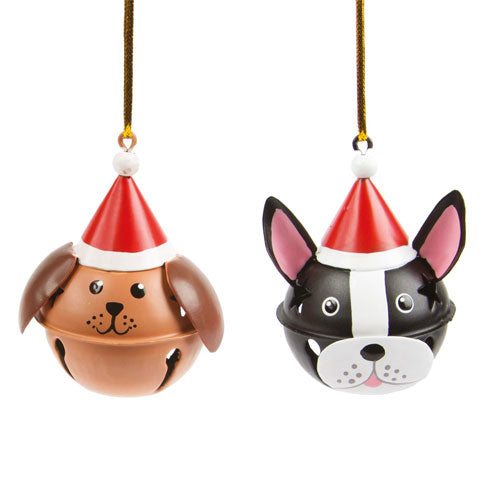 Dog In Christmas Hat Bell Decoration Duo