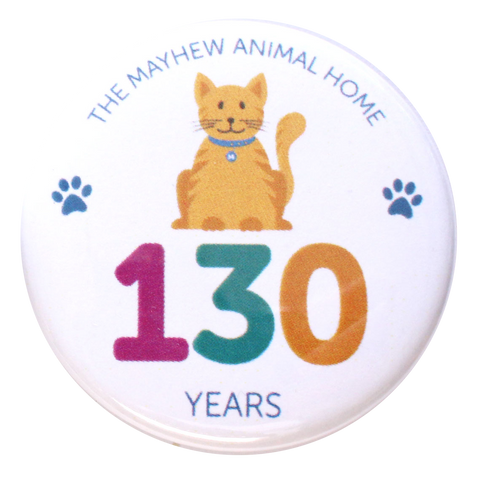 Mayhew 130th birthday Cat button badge - The Mayhew Animal Home