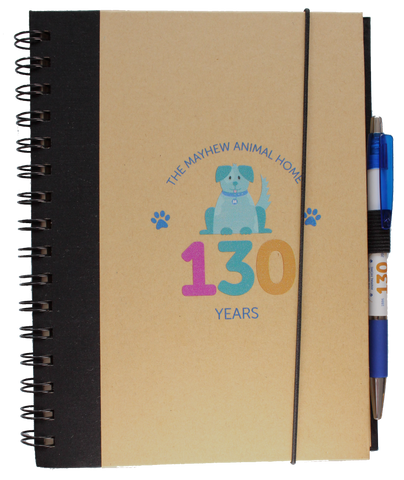 Mayhew 130th birthday A5 dog notebook with pen - The Mayhew Animal Home - 1
