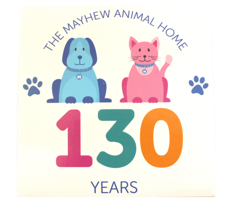 Mayhew 130th birthday Car Window Sticker - The Mayhew Animal Home