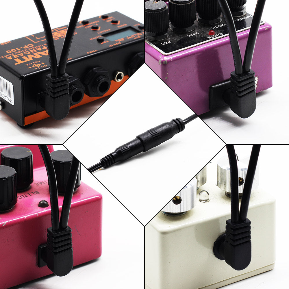 SONICAKE Guitar Bass Accessories 9V DC 5-Way Right Angle Plug Daisy Chain Power Cable