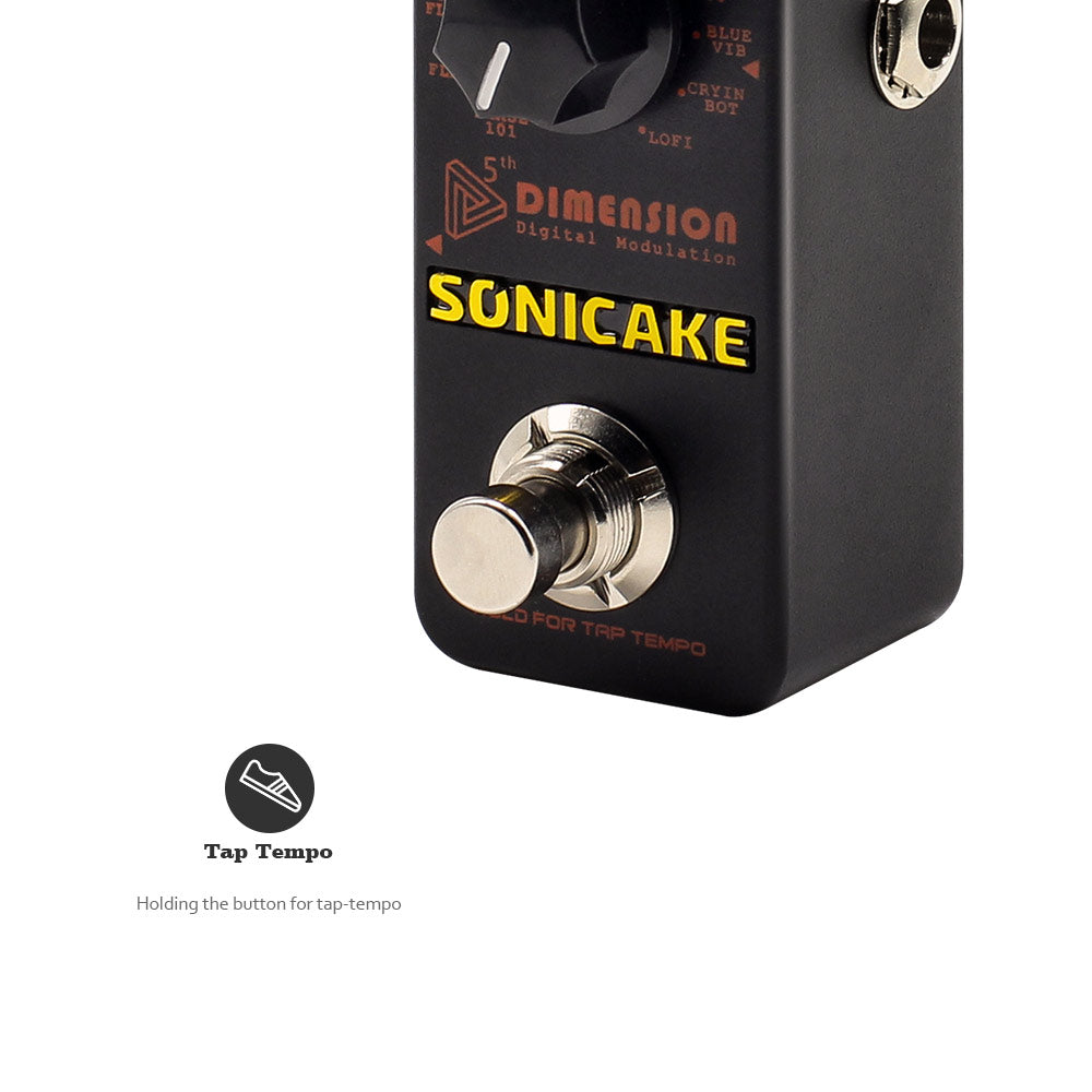 SONICAKE 5th Dimension Digital Modulation Guitar Effects Pedal 11 Mode of Phaser, Flanger, Chorus, Tremolo, Vibrato, Autowah & Sampling