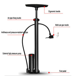 Floor Air Pump with Gauge High Pressure Bike Tire Inflator Portable