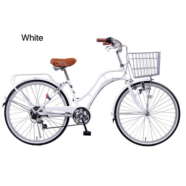 White 24inch japan 6-speed Shimano transmission lady bike city commuter retro bicycle