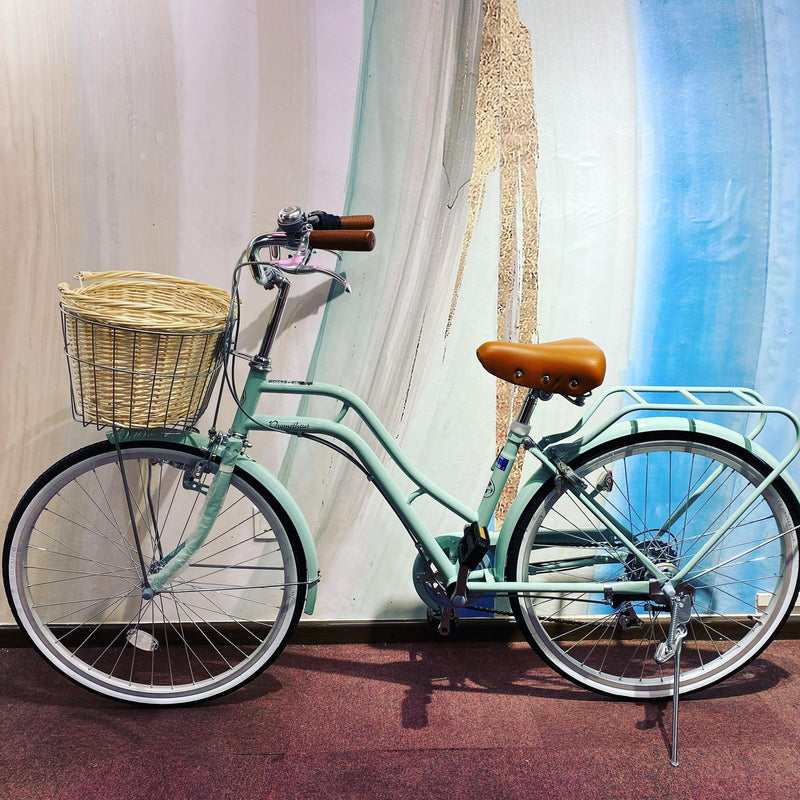 RATTAN BASKET 24inch japan 6-speed Shimano transmission lady city commuter