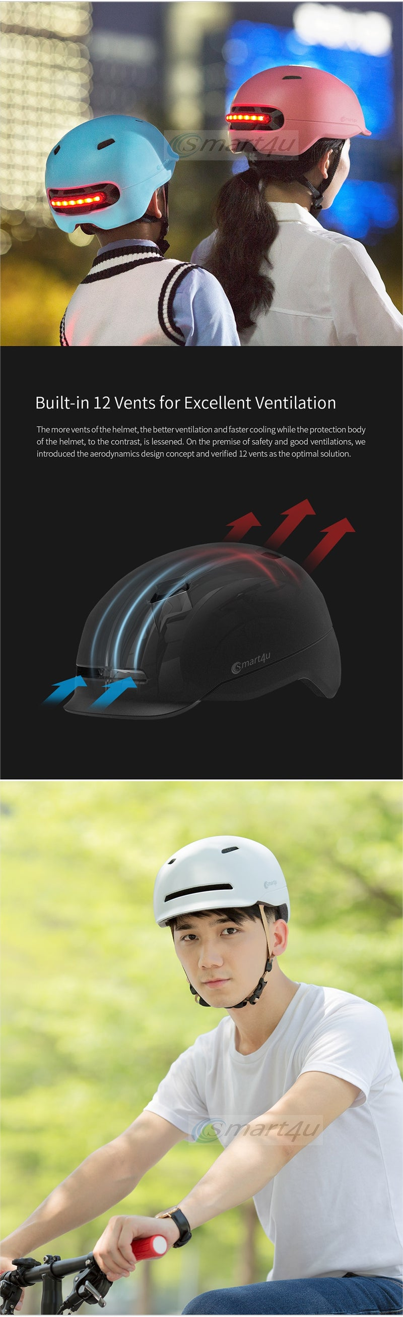 Cycling 7 LEDS with 3 types lights Smart Tail Light Bike Adult Helmet