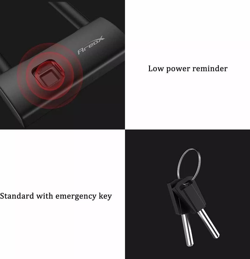 Waterproof Intelligent Fingerprint U Lock sliding door Car Motorcycle Bike padlock