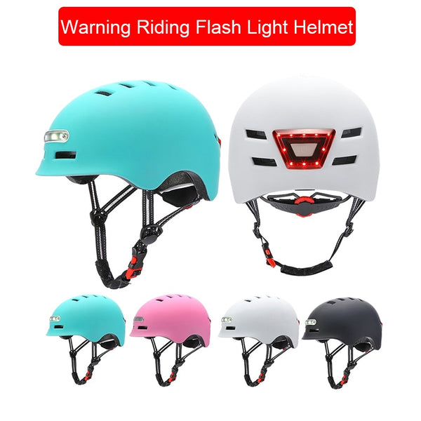 Outdoor Camping Hiking Bicycle Helmet Headlight Warning Riding Safety Protective Helmet
