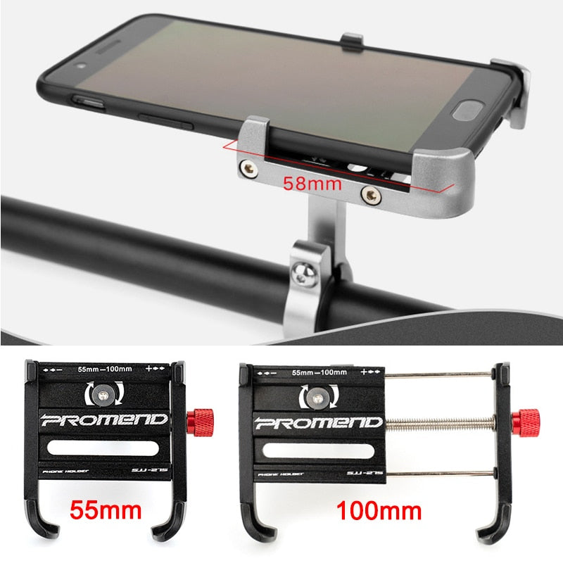 Bicycle & Motorcycle Phone Mount Aluminum Phone Holder with 360° Rotation