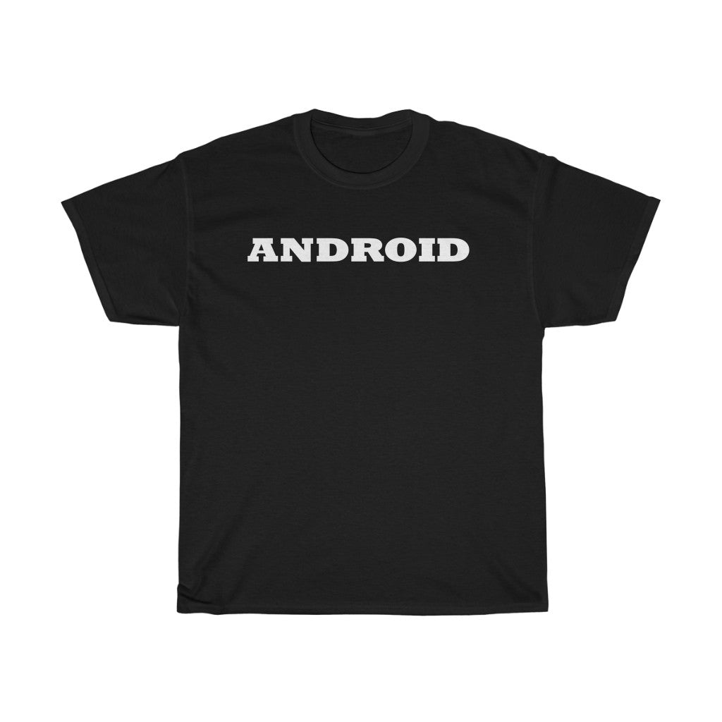 ANDROID in white letters. Typography t-shirt. Unisex Heavy Cotton Tee