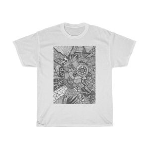 Abstract pen and Ink drawing in black and white. Unisex Heavy Cotton Tee