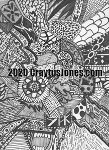 Craytus Jones Drawing Pen and Ink Floral and teeth quarantine art Abstract graphic folk wall decor Original artwork
