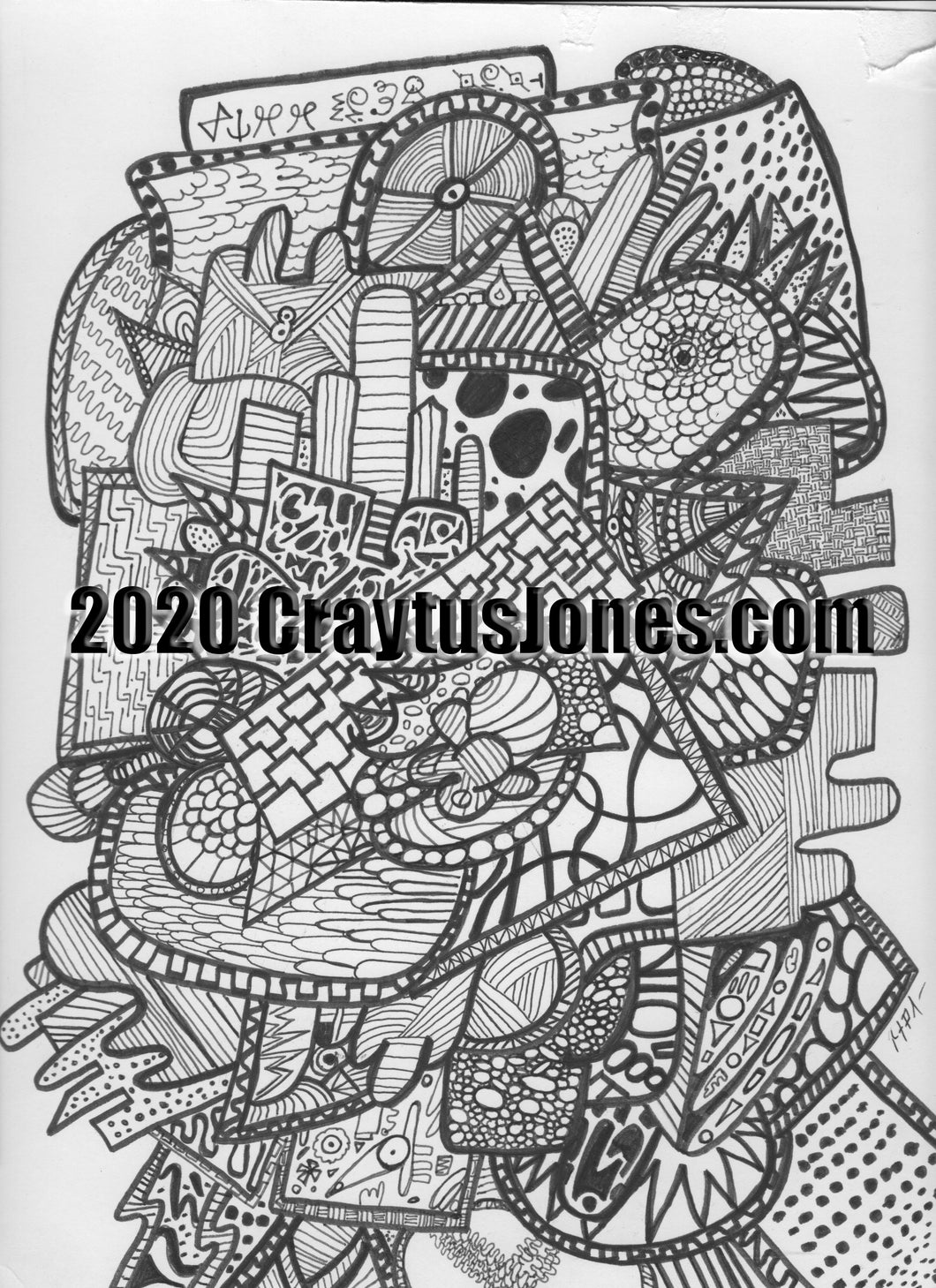 Craytus Jones Drawing Pen and Ink Abstract quarantine art organic texture graphic folk wall decor Original artwork