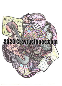 Pen and Ink Drawing by Craytus Jones Colored Pencil quarantine art doodle drawing original