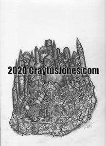 Craytus Jones Drawing Pen and Ink Abstract Buildings and clouds quarantine art organic texture graphic folk wall decor Original artwork