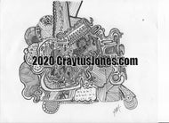Craytus Jones Drawing Pen and Ink Doodle On Wheels Abstract quarantine art organic texture graphic folk wall decor Original artwork