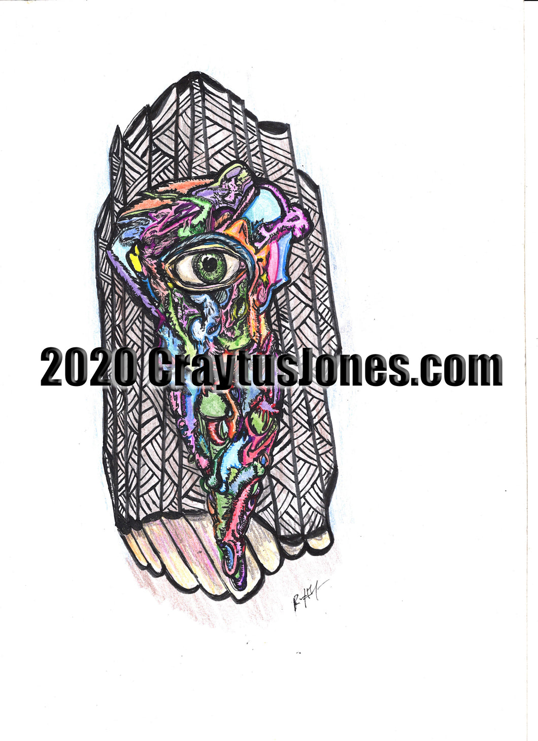 Craytus Jones Drawing Pen and Ink with Marker and Pencil Eye with Texture quarantine art wall decor graphic design
