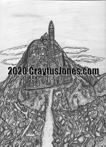 Craytus Jones Drawing Pen and Ink City Mountain quarantine art organic texture graphic folk wall decor Original artwork